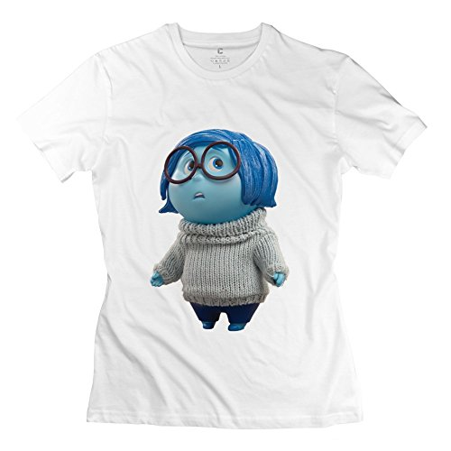 Funny Inside Out Sadness Character Women's Tshirt White Size XL
