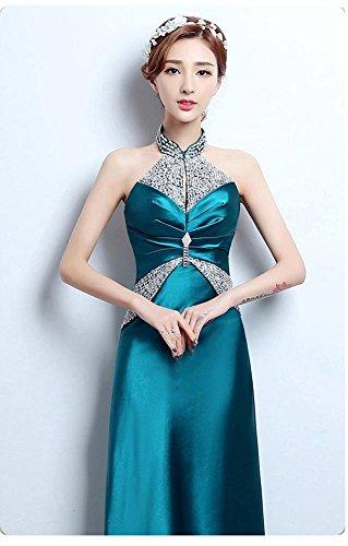 Emily Dunkelgrün rückenfreies Halter Satinrhinestone Beauty Abend Pailletten Kleid TAqwgw1F