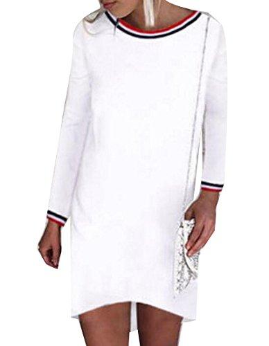Jaycargogo Des Femmes De Robe Midi Casual Manches Longues Sexy Mince O-cou Clubwear Blanc