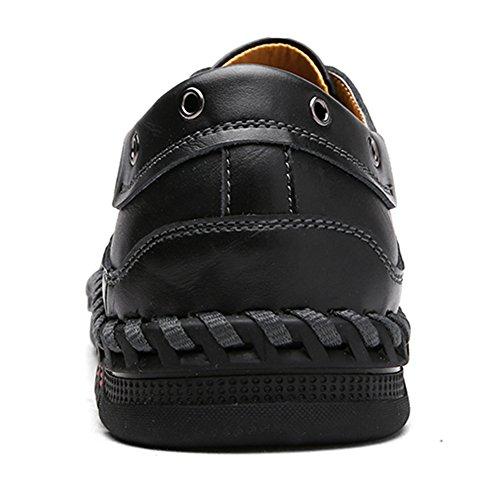 Scarpe Oxford In Pelle Per Uomo, Jions Casual Lace Up Dress Shoes Slip On Flats Mocassini Scarpe Da Barca Classiche B Nero