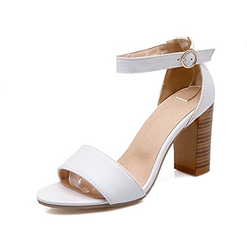 VogueZone009 Women's Buckle Pu Open Toe High Heels Solid Heeled-Sandals White l5penboIL