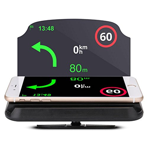 GPS Navigation Cellphone Holder Car HUD Bracket and Head up Display Mobile Phone Navigation Image Reflector Holder 2 in 1 Magnetic Pad for iPhone X 8/8+ Samsung Galaxy S9 by Larnn