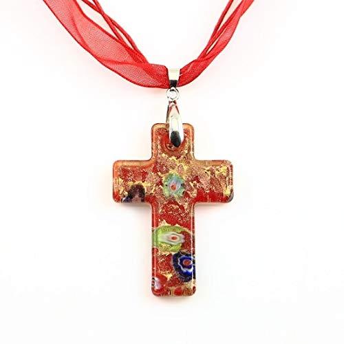 - Gnudo1511 Glass Cross Pendant Christian Cross Pendants Glitter Millefiori Lampwork Murano Glass Necklace Necklaces Pendants Hand Made