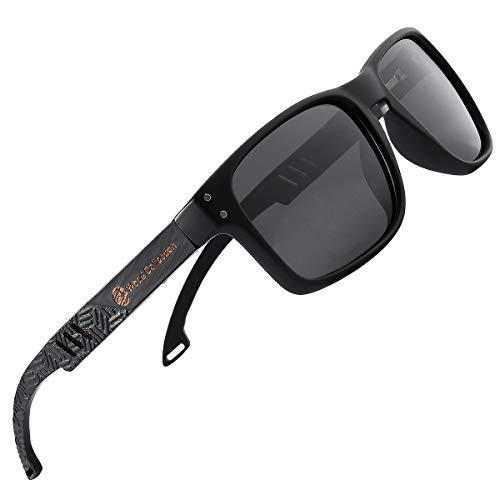 SKADINO Justin Beech Wood Bamboo Sunglasses Polarized with Grey Lens SKD254