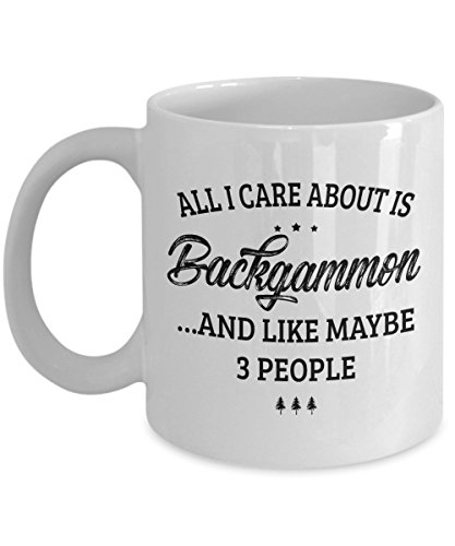 - Backgammon Mug - I Care And Like Maybe 3 People - Funny Novelty Ceramic Coffee & Tea Cup Cool Gifts for Men or Women with Gift Box