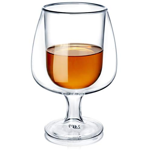 Dragon Glassware Whiskey Glasses, Insulating Double Walled Brandy Snifters, Lead-Free Crystal Clear Glass, 8-Ounce, Set…