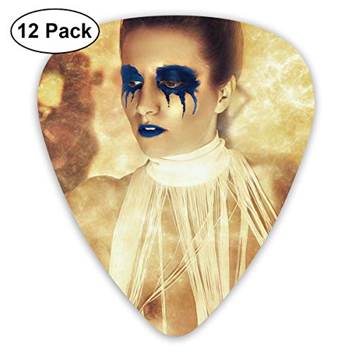 Cool Halloween Blue Eyeshadow Lips Nude Girl Bendy Ultra Thin 0.46 Med 0.73 Thick 0.96mm 4 Pieces Each Base Prime Plastic Jazz Mandolin Bass Ukelele Guitar Pick Plectrum Display]()