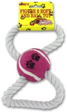 Dog Toy Figure 8 Rope and Tennis Ball, Interactive Tug of War Rope, Great for Fetch for Small Dogs and Puppies Chew toy