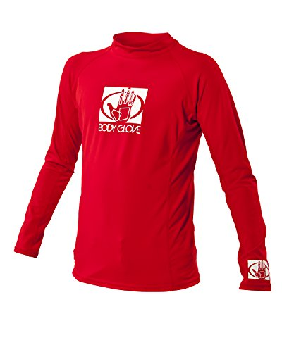 Body Glove Junior Basic Fitted Long Arm Rash Guard, Red, Size 14