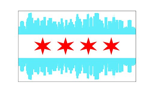 Chicago City Skyline Flag Vinyl Sticker Decal