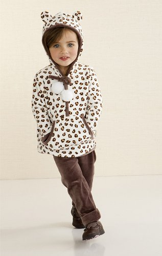 Le Top Girls Leopard Print Velour Hoodie and Pant Outfit