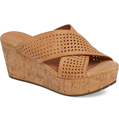 Chocolat Blu Wamblee - Cork Wedge Sandal - Perforated Crisscross Slide TAN Leather 6.5 M US