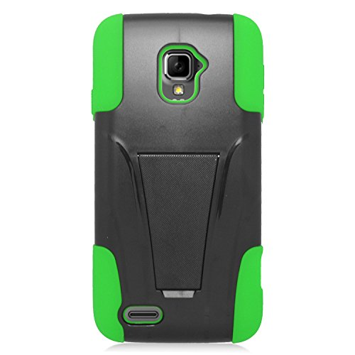 Eagle Cell ZTE Rapido LTE Z932L Hybrid Protective Case with Stand - Retail Packaging - Green/Black