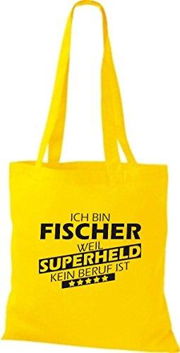 Shirtstown Stoffbeutel Ich bin Fischer, weil Superheld kein Beruf ist gelb