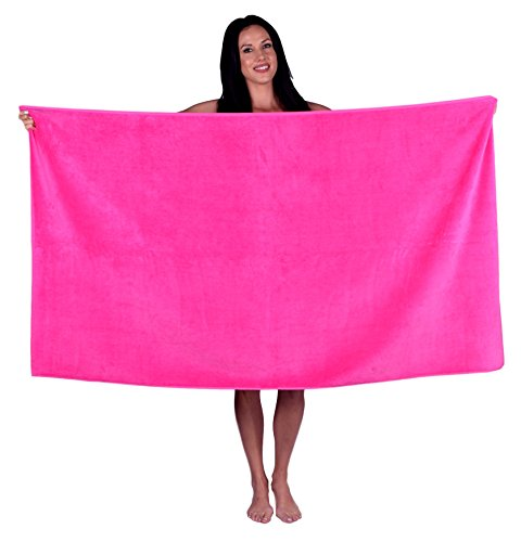 Turquoise Textile Oversize Terry Velour Bath and Beach Towel (Hot Pink) - Hot Pink Towels