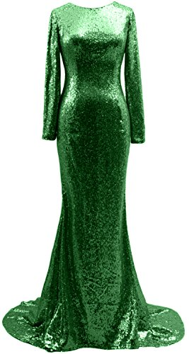 MACloth Mermaid Long Sleeves Sequin Prom Dress Open Back Formal ...