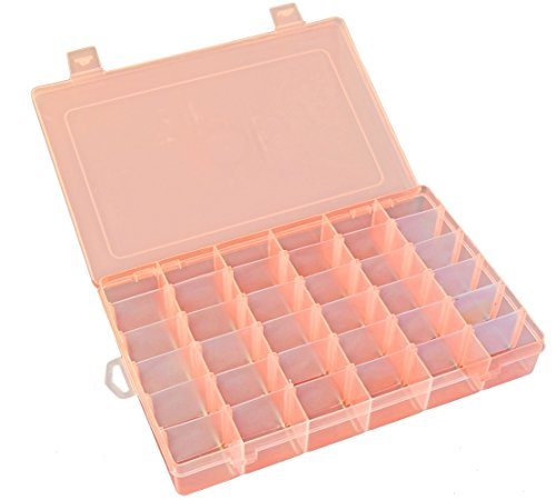 (Qualsen Transparent Bead Storage Jewelry Organizer Storage Container Plastic Organizer Box with Adjustable Dividers for Sorting Earrings, Rings, Beads and Other Mini Goods 36 Grid 1PC (Orange))