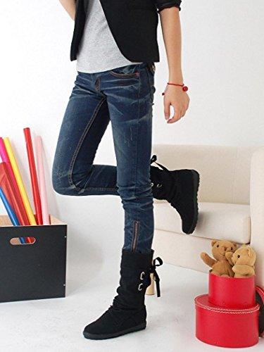 Kolylong® Stiefel Damen Frauen Elegant Quaste Stiefel Lange Herbst Winter Warme Flache Stiefeletten Schnee Stiefel Martin Stiefe Freizeit Schuhe für Mädchen Schwarz