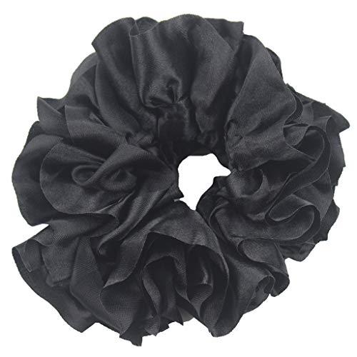 Women's Flexible Rubber Band Simple Hijab Volumizing Scrunchie Large Hair Headwear Fashion Big Hair Ring By Lmtime(Black) (Accessories Hair Hijab)