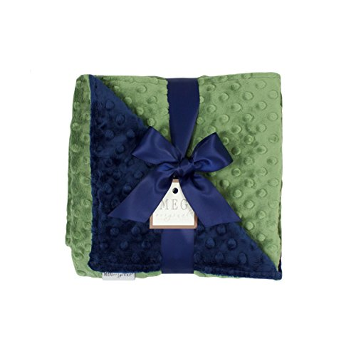 (MEG Original Navy Blue & Dark Sage Green Minky Dot Baby Blanket 971)
