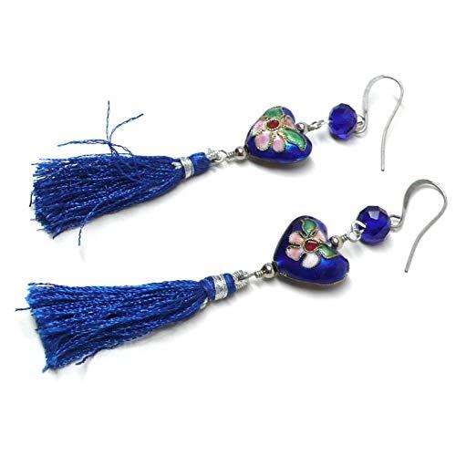 - Chinese Cloisonne Enamel Heart Blue Tassel Earrings OOAK