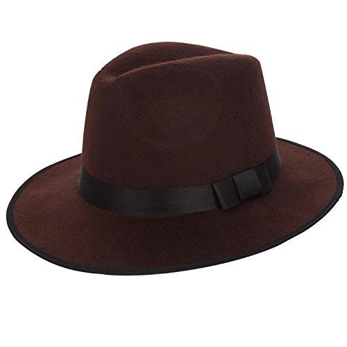 (Aerusi Unisex Vintage Wool Felt Wide Brim Outback Fedora Safari Hat (Brown))