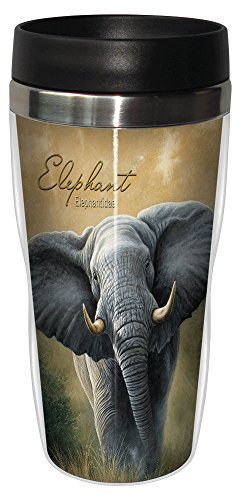 Elephant Travel Mug, Stainless Lined Coffee Tumbler, 16-Ounce - Jeremy Paul - Cute Gift for Zoo Animal Lovers - Tree-Free Greetings 25702 by Tree-Free Greetings