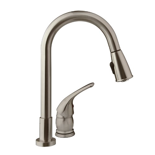 Dura Faucet (DF-NMK503-SN) Pull-Down RV Kitchen Faucet with Side Lever - For RV's, Motorhomes, 5th Wheels, Travel Trailers, and Towables (Brushed Satin Nickel) by Dura Faucet