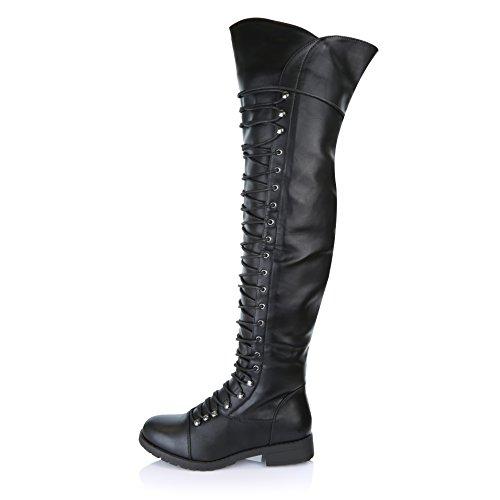 DailyShoes Damen Lace Up Oberschenkel Hohe Stiefel - Vegan Einfach Lace Up Design Mit Reißverschluss Trendy MILITY Style Boot Schwarz Pu
