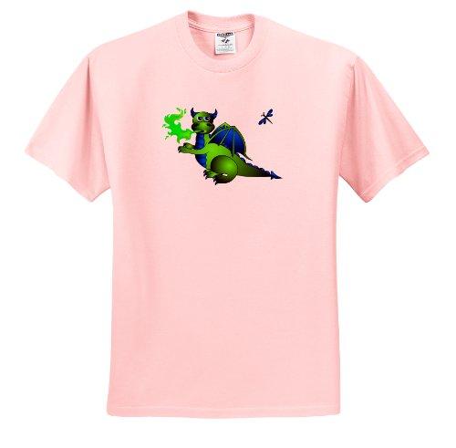 Fire T-shirt Dragon Breathing (Janna Salak Designs Dragons - Green and Blue Fire Breathing Dragon and Dragonfly - T-Shirts - Toddler Light-Pink-T-Shirt (3T))