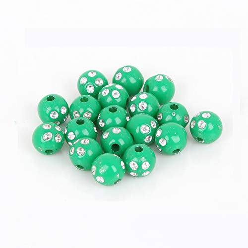 500-Piece 8mm Loose Beads, Assorted Color Acrylic Sphere Ball Beads Lot for Bracelets Necklaces Jewelry Making DIY Kids Easter Spring Craft Projects (Dark Green)