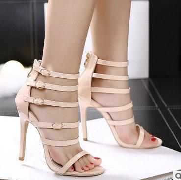 YCMDM Womens cinturino alla caviglia pompa i pattini romano Sandali con tacco Hollow Charme Scarpette Scarpe , apricot , 40