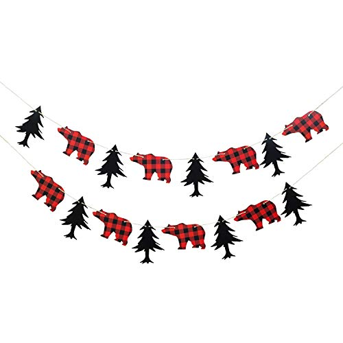 Lumberjack Theme Banner Garland Party Supplies for Kid Birthday & Baby Shower Party Decoration