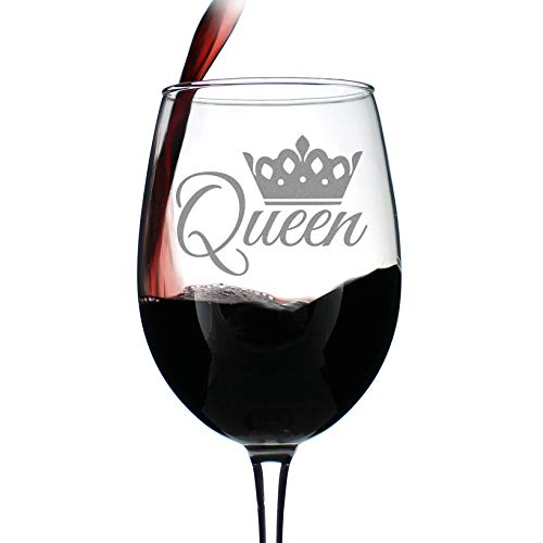 Queen - Cute Funny Wine Glass, Large 16.5 Ounces, Etched Sayings, Gift Box