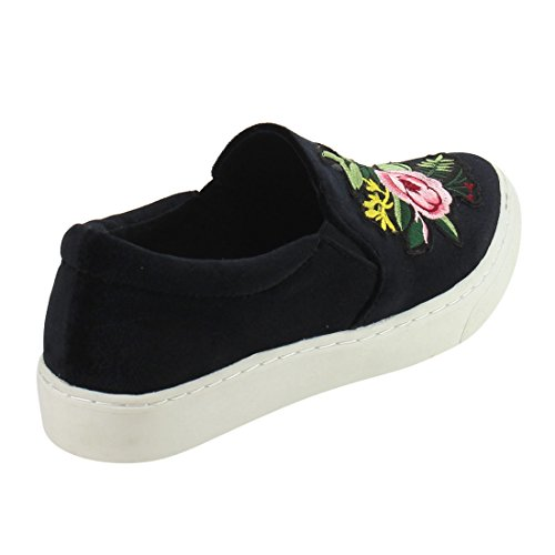Slip Women's Elastic Fashion Flower Cuff Pattern Black Padded Sneaker On IF12 Soda w51RI1