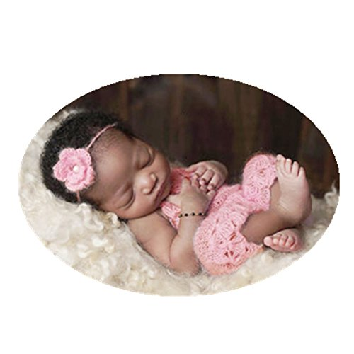Knit Outfit - Newborn Baby Photography Props Boy Girl Photo Shoot Outfits Crochet Knit Clothes Cute Mohair Headdress Rompers Jumpsuit(Pink)