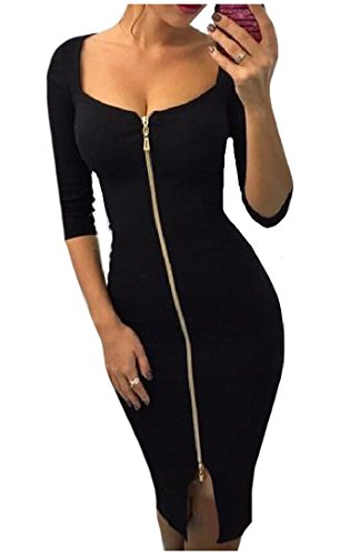Women's Mini Zipper Black Comfy 4 3 Fitted Sleeve Dress Bodycon Solid RnnZqw1dx