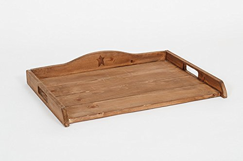 Primitive Rustic Country Wooden Stove Top Decorative Tray - Golden Oak Stain ()