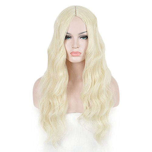 Plastic Body Parts Costumes (SiYi Women's Wig Long Curly Wavy Blonde Wig Synthetic Heat Resistant Costume Middle Part Hair Wig)