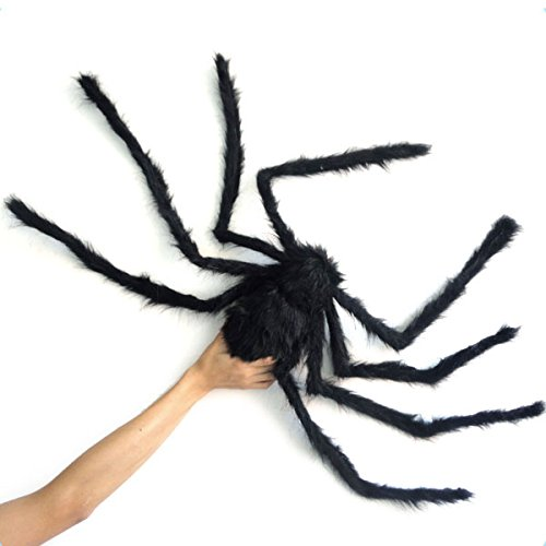 JINSEY 59 Inch 150CM Giant Huge Black Spider Decorations, Halloween Outdoor Large Size Realistic Fake Hairy Spider Props Decor for Halloween Party, Patio Big Spiderweb Decorations
