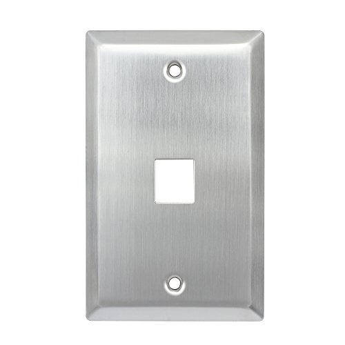 Cat3 Universal Jack - CoocoTech 1 Port Keystone Wall Plate, QuickPort Wallplate, Single Gang, Stainless Steel