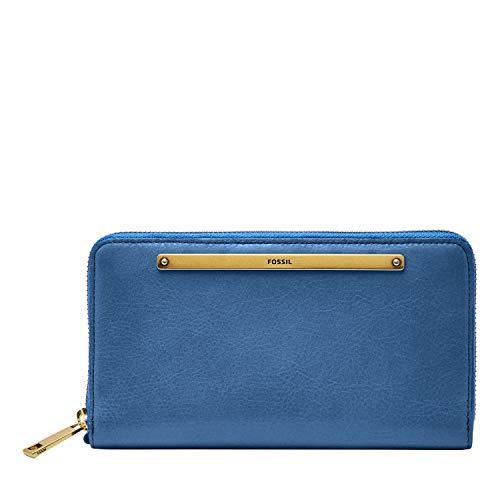 Fossil Women's Liza Blue Leather Zip Around Clutch Wallet