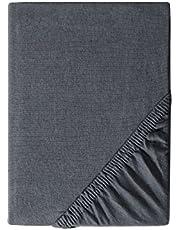 myHomery Spannbettlaken Jersey Elias - Spannbetttuch Basic 100% Baumwolle - Matratzenbezug 28cm Steghöhe - Bettlaken mit Gummi-Band - Betttuch