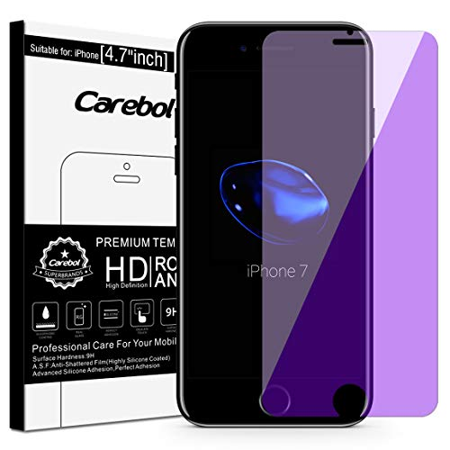 (Carebol Anti Blue Light Tempered Glass Screen Protector for iPhone 8,7,6s,6 [4.7