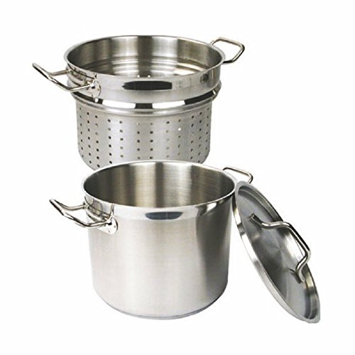 PASTA COOKER W/ LID 3 PIECE SET 18/8 STAINLESS STEEL PROFESSIONAL COOKWARE 12 QT OR 20 QT (20 QT) by AmGood