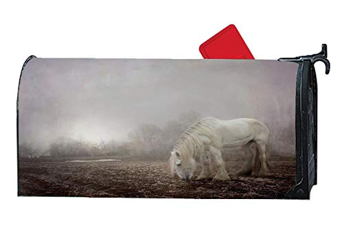 Halloween Spooky Fog Horse Winter Magnetic Mailbox Covers Decorative Magnetic Mailbox Cover, Personalized Vinyl Mailbox Wrap 6.5 x 19 Inches -