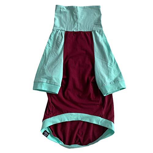 (Tooth & Honey Large Dog Clothes/Big Dog Clothing/Pit Bull Shirt/Allergy Shirt/Lightweight Dog Shirt/Surgery Recovery Shirt/Pitbull Clothing/Mint & Maroon (Extra Large))