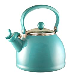 Calypso Basics 2-1/5 Quart Whistling Teakettle w/ Glass Lid, Turquoise