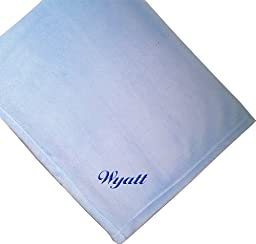 Wyatt Embroidered Boy Name Personalized Microfleece Satin Trim Blue Baby Blanket