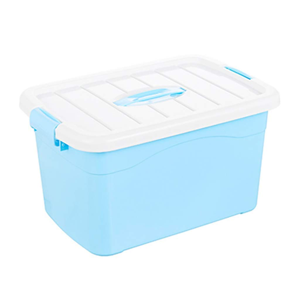 CDラック プラスチック収納ボックス収納整理箱付きカバー子供のおもちゃ服収納ケースブルー並べ替えボックス、防虫防湿 (Size : 52*38*32cm) B07RXKBKVL  52*38*32cm